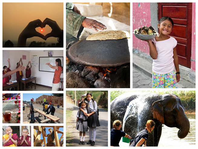 Volunteer travel collage